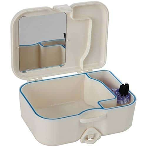 Denture Travel Case With Built In Mirror And Brush
